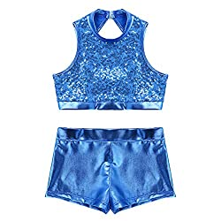 Cutout Back Blue 2-Piece Active Sequin Top and Booty Short