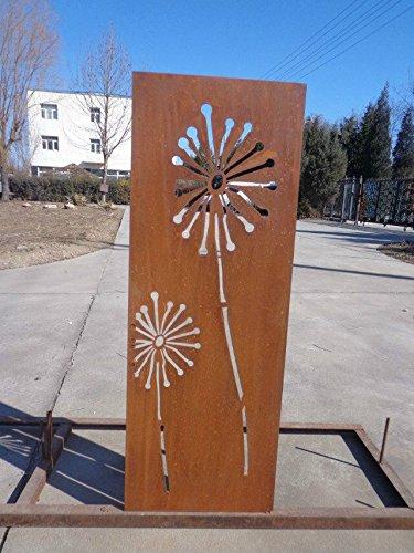 Zen Man Garten Sichtschutz aus Metall Rost Gartenzaun Gartendeko edelrost Sichtschutzwand 031654 150 * 50 * 2CM