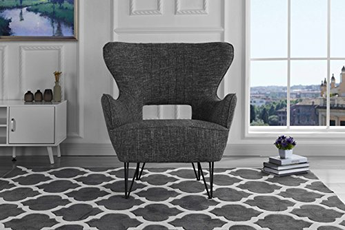 Mid-Century Modern Linen Fabric Accent Armchair with Shelter Style Living Room Chair (Light Grey)