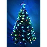 Christmas Concepts® 48 Pulgadas (4FT) Verde LED Árbol de Fibra Óptica de Navidad con el Cambio de Color Estrellas LED + Fibra Óptica con Base de Oro