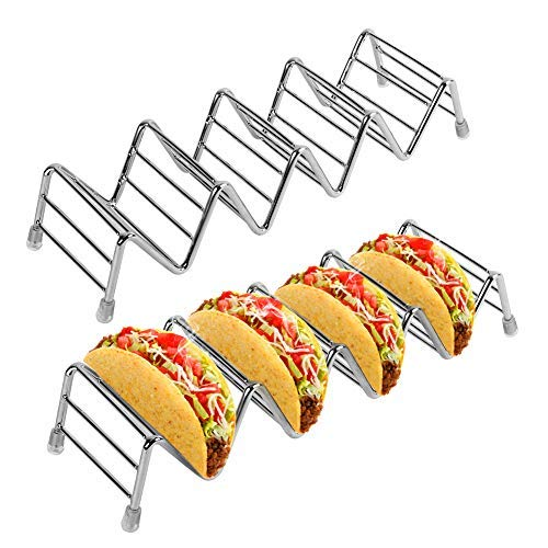 Taco Holder 2 Pack Taco Stand for 8 to 10 Tacos, Stainless Steel Rustproof Taco Rack Holds Up to 4-5 Tacos Each, Taco Tray for Soft Hard Shell with Silicone Protective Tips Oven Safe, 2 Pieces