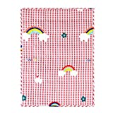 ROKDUK Kids Weighted Blanket Throw 10 lbs. 50x60 in, 100% Oeko-Tex Natural Egyptian Cotton 1200TC for Toddler Heavy Comforter with Glass Beads, Printed Pink Rainbow Plaid