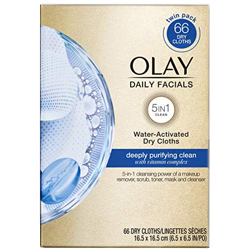 Olay Daily Facials, Deeply Purifying Clean, 5-in-1 Cleansing Wipes with Power of a Makeup Remover, Scrub, Toner, Mask and Cleanser, Twin Refill, 66 count