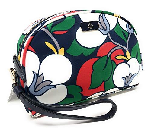 Kate Spade Medium Dome Floral Nylon Cosmetic Travel Bag Wristlet Navy Multi