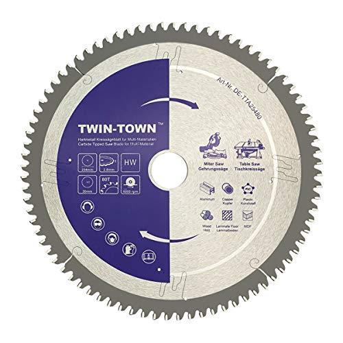 TWIN-TOWN HM Kreissägeblatt Multi-Material 254x30mm Z80,Ideal für Holz, Laminat, MDF, Aluminium, Kunststoff, Parkett, Fußleisten und Kupfer zum Sägen mit Gehrungssäge und Tischkreissäge