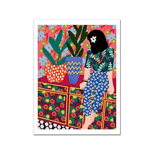 wZUN Cartel de Dibujos Animados Moda nórdica niños Pintura Mural Cuadros sobre Lienzo decoración del hogar de la Sala de Estar 60x80 Sin Marco