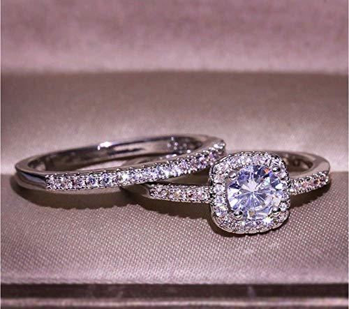 Wenbin Fashion Ring Women's 925 Sterling Silver 2PCS Pretty 18K Princess Cut CZ Bridal Engagement Wedding Band Set Best Anniversary Promise Rings Size 6-10 (Size 9)