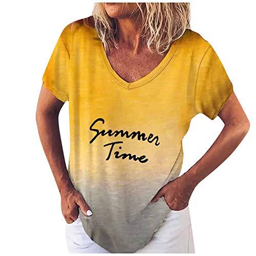 KIMODO T-Shirt Damen V-Ausschnitt Lose Druck Bluse Tunika Sommer Farbverlauf Kurzarm...
