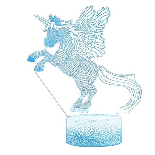 Unicornio 3D Proyección de luz nocturna Lámpara LED Baby Nursery Luz nocturna para niños Habitación Decoración del hogar Regalos de cumpleaños de Navidad con cambio de 7 colores (Fly Unicorn)