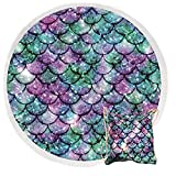Large Round Beach Towel with Fringe, Microfiber Mermaid Scales Round Beach Blanket with Tassels, Sand Free, Fast Drying Circle Mat, Outdoor Picnic Blanket with Matching Beach Bag