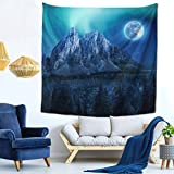 DM Maker 3D Printed Realistic Unique Aurora Borealis and Full Moon Over Mountain Tapestry Decoration,Tapestries Wall Hanging Mattress Profession Tapestry for Room Teen Girls 59x59inch