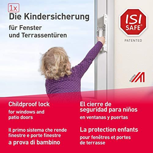 ISI SAFE, el cierre de seguridad para niños No. 1 - BLANCO para ventanas y puertas de patios y balcones, instalación sin necesidad de herramientas, de taladrar ni de pegar y sin dañar la ventana