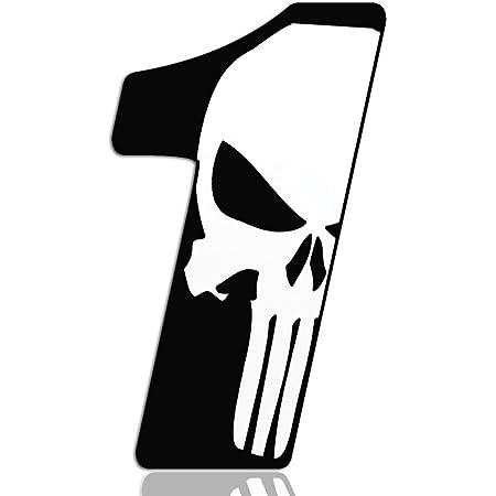 Biomar Labs Startnummer Nummern Auto Moto Vinyl Aufkleber Sticker Skull Schädel Punisher Weiß Motorrad Motocross Motorsport Racing Nummer Tuning 1 N 361 Auto