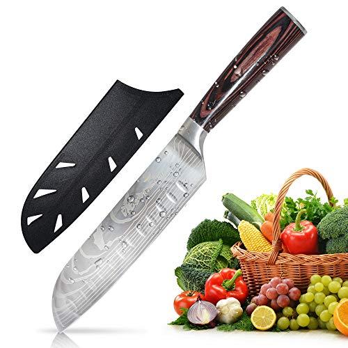 RazorChef Kitchen Santoku Pro Chef Knife  High Carbon Stainless Steel with Damascus Pattern Ultra Sharp 7Inch Blade with Sheath Ergonomic Pakkawood Handle