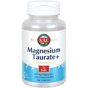 KAL® Magnesium Taurate Plus 400mg w/Coenzyme B6   Highly Bioavailable, Chelated, Vegan   for Normal Nerve, Muscle Function and Heart Health   90 Tabs