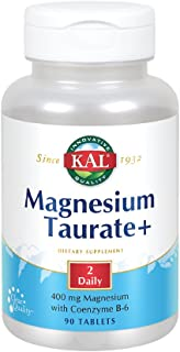 KAL® Magnesium Taurate Plus 400mg w/Coenzyme B6 | Highly Bioavailable, Chelated, Vegan | for Normal Nerve, Muscle Function...