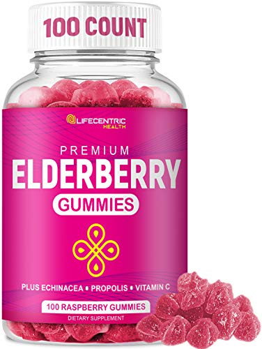 Sambucus Elderberry Gummies for Kids and Adults Plus Vitamin C, Propolis and Echinacea for Immune Support | Delicious Raspberry Sambucol Gummy Immune Booster for Adults and Children