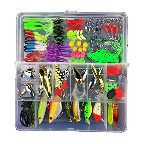 MKNZOME 106 Pcs Fishing Lures Tackle Box Kit for Saltwater and Freshwater Life like Swimming Action Bait for fishing bass yellow perch barracuda walleye trout