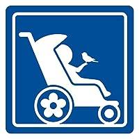 imoninn ベビーカー バギーサイン 子供用障害者マーク 障害児マーク 【カッティングステッカー】 車いすサイン・福祉車両用 (青色)