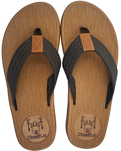 KUAILU Mens Flip Flops Thong Sandals Yoga Foam Slippers Khaki