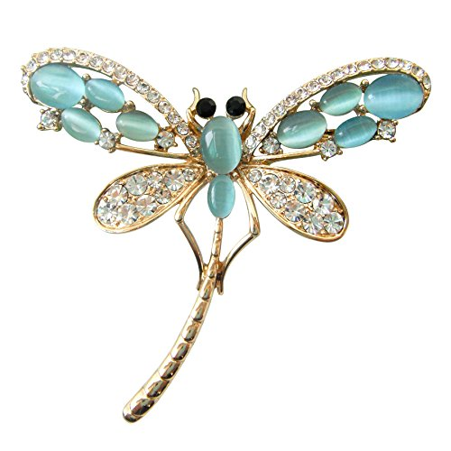 Navachi Broche chapado en oro de 18 quilates con diseño de libélula, Cristal, Opal,