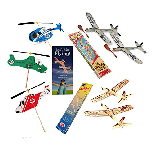 Balsa Wood Airplanes by Guillows Jetfire and Sky Streak Rubber Band Powered Airplanes Bundle with Kids Windup Flying Copter Toys