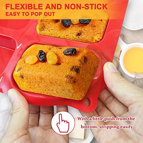Silicone Mini Loaf pan, Walfos 12 Cavities Mini Bread Pan Brownie Pan, Food Grade & Non-stick, Ideal For Mini Bread, Brownie, Cornbread, Cheesecake & Chocolate, Set of 2