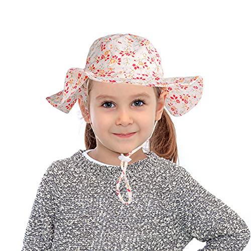 LINGSFIRE Cappello da Sole per Bambino Secchio Regolabile Protezione del Sole Cappello per Neonata Ragazzo Super Morbida, Berretto Floreale con Animali, Unisex, Visiera Estiva Cappell (Bianca)