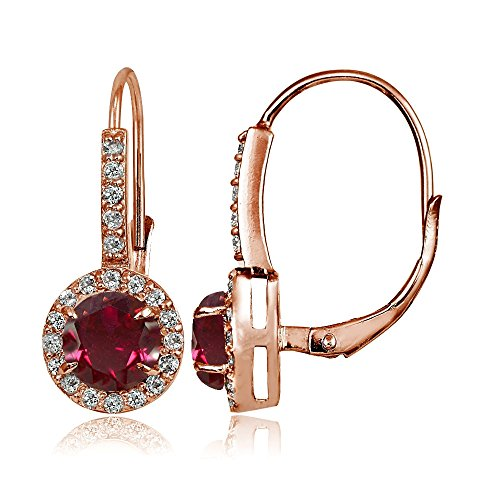 Rose Gold Flashed Sterling Silver Created Ruby and Cubic Zirconia Accents Round Leverback Earrings