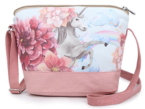 Crest Design Whimsical Canvas Cross-body Shoulder Bag for Girls and Teenagers (Pink Unicorn)