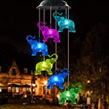 WANQDG Wind Chimes, Elephant Solar Wind Chimes for Outside, Waterproof LED Solar Powered Memorial Wind Chimes with Lights, Housewarming Gifts for Garden Outdoor Patio Yard Lawn Decor