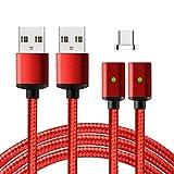 Lively Life USB C Kabel - 2 kabels+1 Magnetstecker- EasyConnect Magnetisches USB Type C Ladekabel Datenkabel für Type C Geräte für Sony/Samsung/Lumia/Nokia/Huawei/HTC 1m Nylon Rot