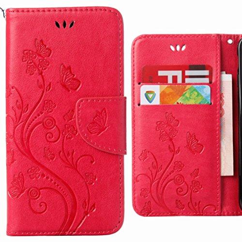 Ougger Handyhülle für Wiko Rainbow Jam 4G Hülle Tasche, Flower Butterfly BriefHülle Tasche Schale Schutzhülle Leder Weich Magnetisch Stehen Silikon Cover mit Kartenslot (Rosa)