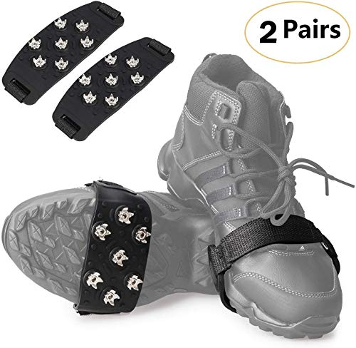 FANBX F Crampon Traction Cleats Anti-Skid Traction Grips Crampons Spikes 7 Point Cleats for Footwear for Walking, Jogging, Hiking, Mountaineering Ice Snow Grips (Black 2 Pairs)