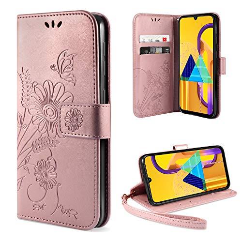ivencase Handyhülle Kompatibel mit Samsung Galaxy M30s & Galaxy M21 Hülle Flip Lederhülle, Handyhülle Book Hülle PU Leder Tasche Hülle & Magnet Kartenfach Schutzhülle - Pink Gold