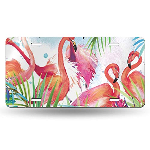 NiYoung Unisex License Plate Watercolor Flamingo Novelty Decorative Decorative Car Front License Plate Vanity Tag Metal Car Plate for Cars, Trucks, Cart 6 X 12 Inch