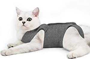 Cat Professional Recovery Suit for Abdominal Wounds or Skin Diseases, E-Collar Alternative for Cats and Dogs, After Surgery Wear, Pajama Suit