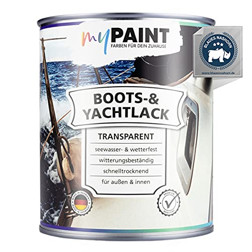 myPAINT® 1K erstklassiger Bootslack & Yachtlack (750ml, transparent) langlebiger Bootslack Holz- professioneller Kunstharzlack - Made in Germany