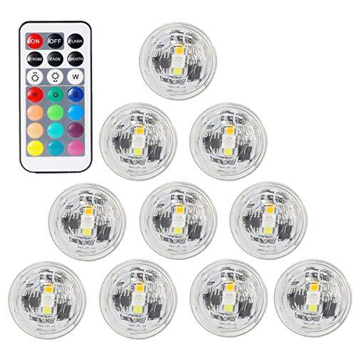 AeeYui 10Piezas Mini LED Vela Impermeable lámpara Sumergible con 2Mando a Distancia Color Que Cambia para la atmósfera Fontana Piscina bañera Maceta Boda Cumpleaños decoración de Navidad.