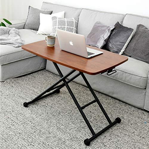 [山善] 昇降式テーブル スムーズ昇降 無段階高さ調節 キャスター付き 幅90-114.5×奥行55×高さ11.5-70cm ダイニングテーブル ローテーブル 完成品 ウォルナット/ブラック NGL-9055(WLBK)