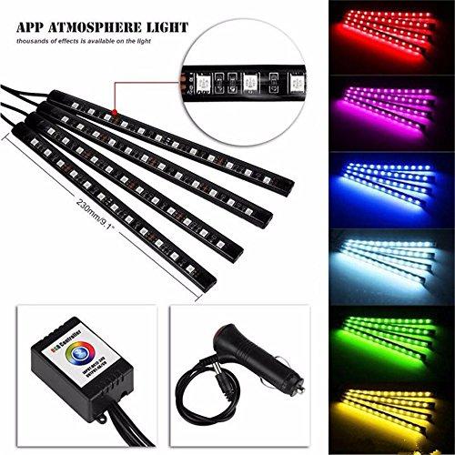 Kit de lampe d'ambiance LED RVB 7 couleurs pour voiture avec télécommande infrarouge Noir