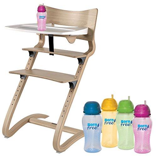 Leander Hochstuhl natur mit Sicherheitsbügel, ansteckbarem Tisch und BornFree-Trinkbecher