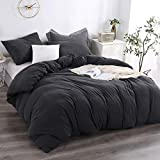 Andency Jersey Knit Duvet Cover Queen (90x90 Inch), 3 Pieces (1 Solid Dark Grey Duvet Cover, 2 Pillowcases) Soft and Breathable Duvet Cover Set with Zipper Closure, Corner Ties