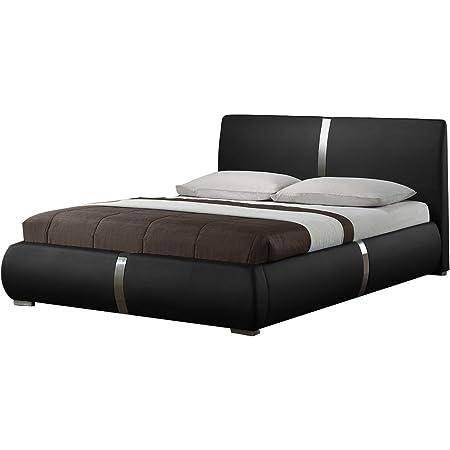 Meubletmoi Eden - Cama doble (140 x 190 cm, con cabecero de cama, patas de metal y somier integrados), color negro