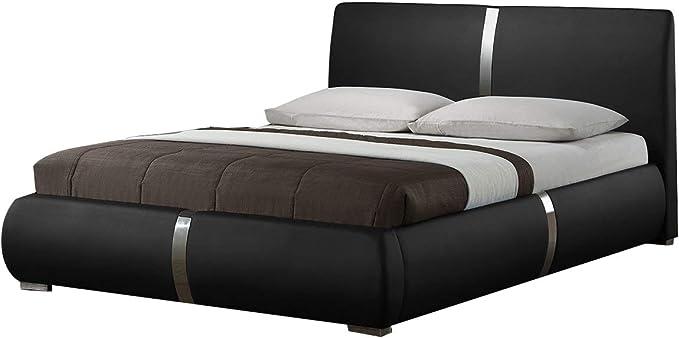 Eden - Juego de cama doble negro + colchón 160 x 200 cm ...