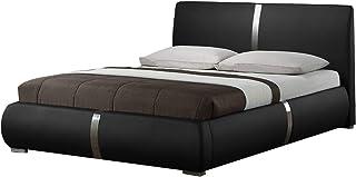 Lit Double Noir 140 x 190 Qualité Excellium avec tête de lit, Pieds en métal et sommier intégrés - Eden