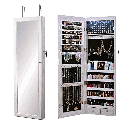 sogesfurniture Espejo Joyero, Armario para Joyas, Montura para Puerta Joyero Pared Espejo con Gabinete con Luces LED, Lacado Blanco y Terciopelo Negro Interior, BHEU-QH-7025