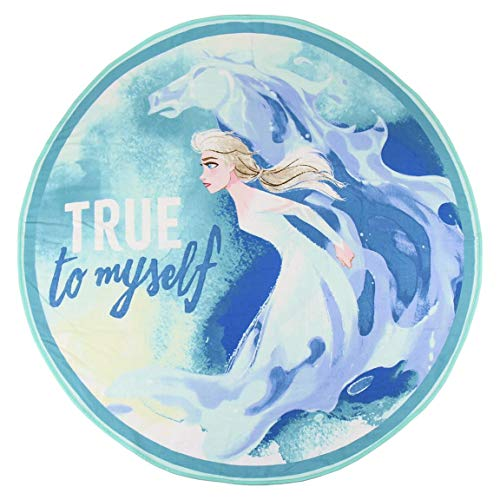 Disney Frozen 2 – Toalla de playa o piscina – Elsa – Diámetro 130 cm Redondo Elsa 130 cm