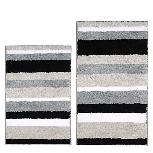 Pauwer Microfibra Bagno tappetini Antiscivolo Lavabile Tappeto Bagno, Nero, 45 * 65cm+50 * 80cm