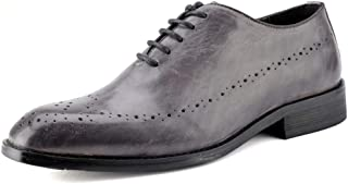 Sygjal Men's Fashion Oxford Casual British Style Classic Retro Brush Color Brogue Shoes Fashion (Color : Gray, Size : 39 EU)